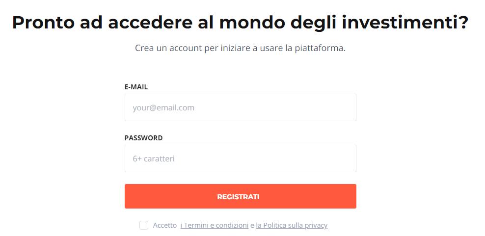 iq option registrazione conto demo